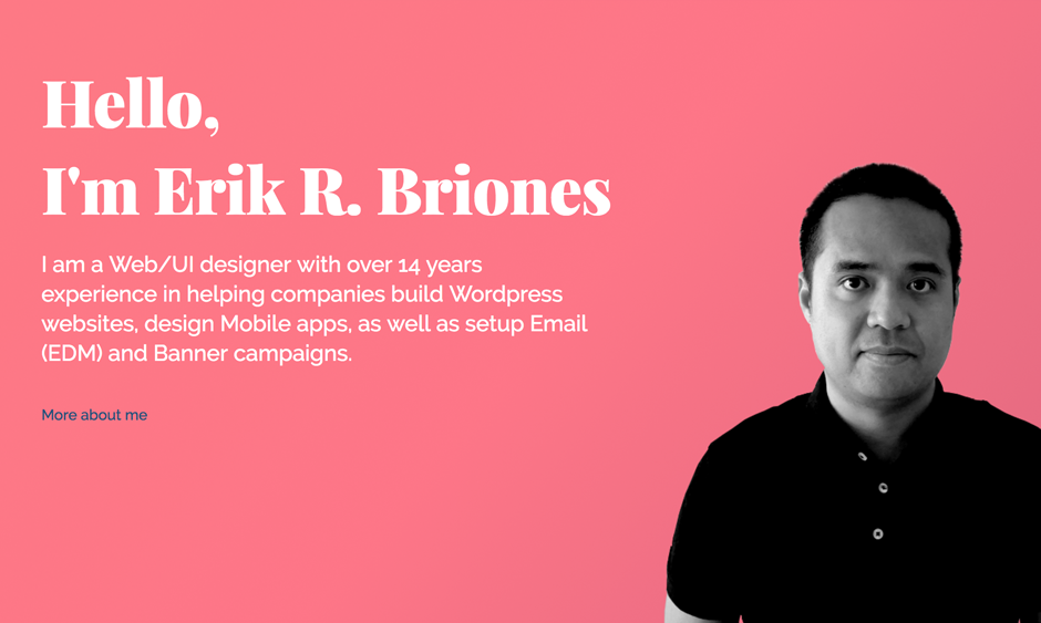 Erik Briones Homepage with Animated Gradient Background